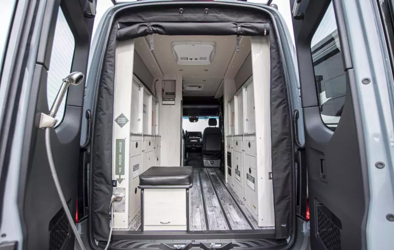 View of inside Antero van with rear doors open