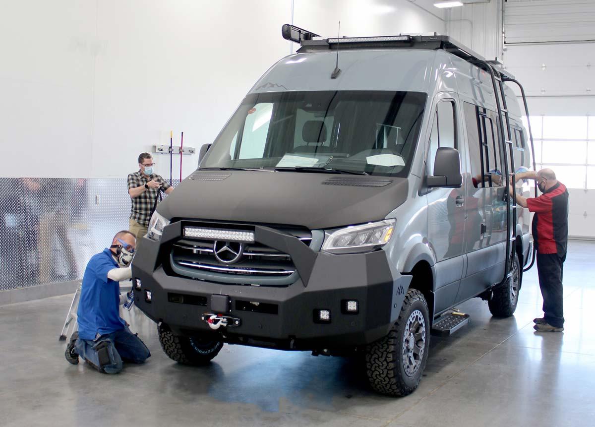 Men working on antero van